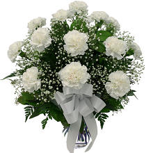 Dozen White Carnations