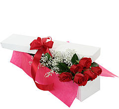 Six Red Roses in a Gift Box