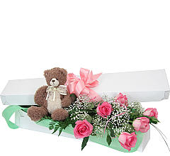 Pink Roses With Bear
