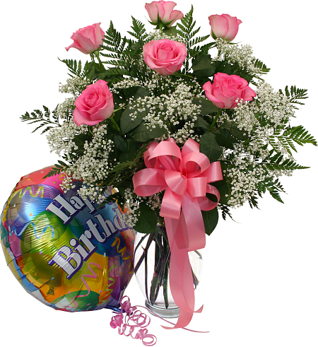 Six Pink Roses And Balloon 183 Birthday Flowers 183 Canada