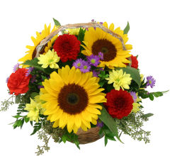 Flowers Arranged in a Basket