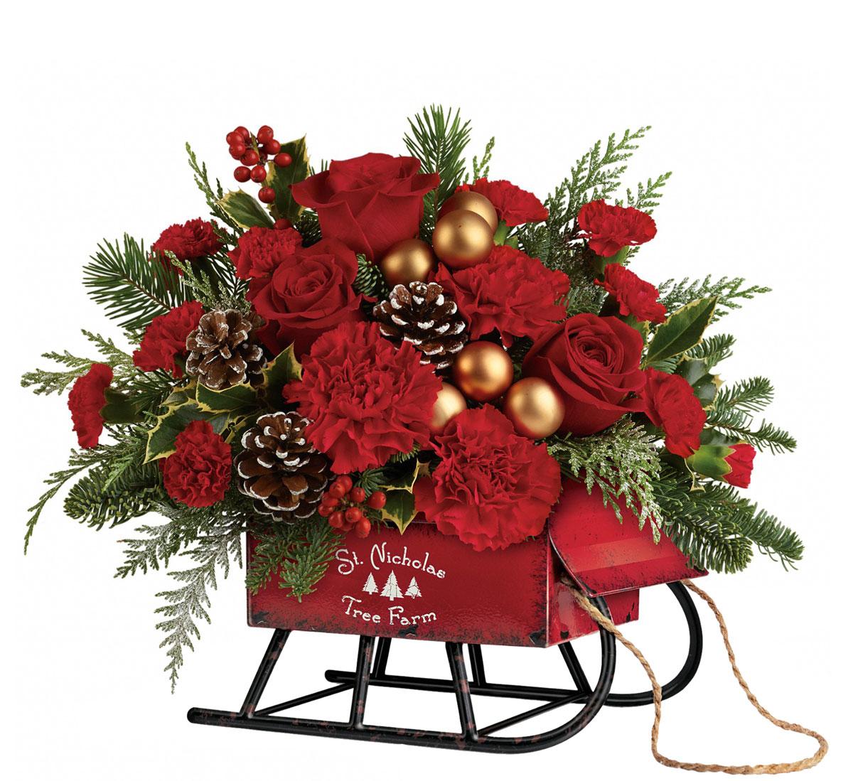 Teleflora S Vintage Sleigh Bouquet T17x300 183 Teleflora