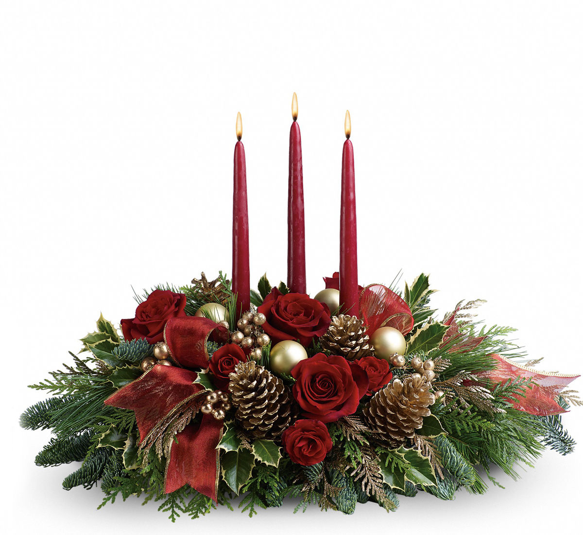 Teleflora's All is Bright Christmas Candle Centerpiece (TFWEB247 ...