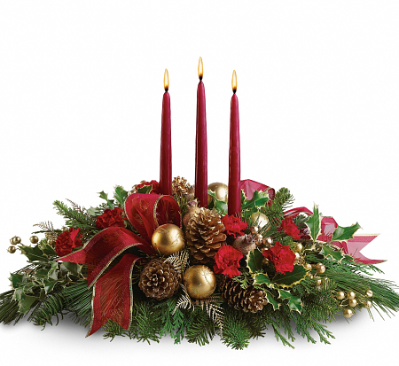 Teleflora S All Is Bright Christmas Candle Centerpiece