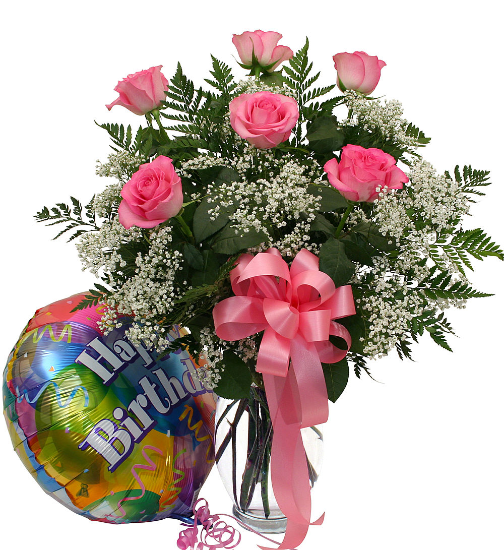 Birthday Roses And Balloon · USA Flower Delivery
