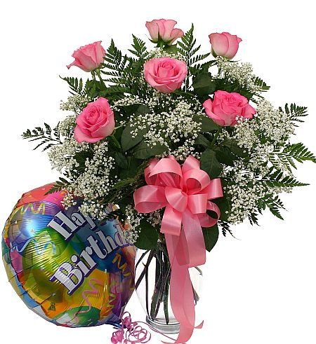 birthday roses and balloon · usa flower delivery · birthday, Natural flower