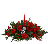 Beautiful Christmas flower centerpieces by Canada Flowers. Hurricane globe centerpieces and candle centerpieces. Festive party centerpieces for Christmas gifts available same day in Canada.