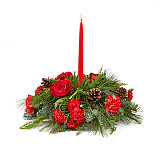 Beautiful FTD Christmas flower centerpieces by Canada Flowers. Hurricane globe centerpieces and candle centerpieces. Festive party centerpieces for Christmas gifts available for delivery in Canada.