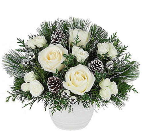 Christmas Flower Arrangements.White Rose Christmas Gift