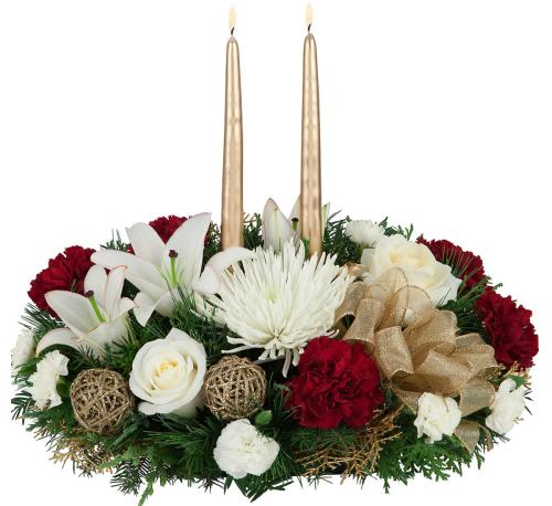 Christmas Flower Arrangements.Royal Christmas Centerpiece