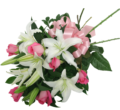 White Lilies & Pink Roses