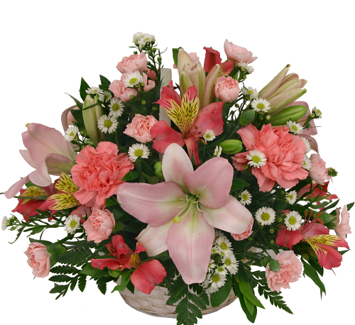 Pink Flowers in a Basket