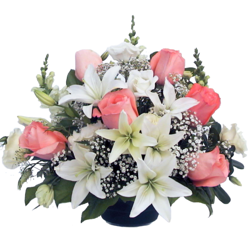 Pink Roses & White Lilies