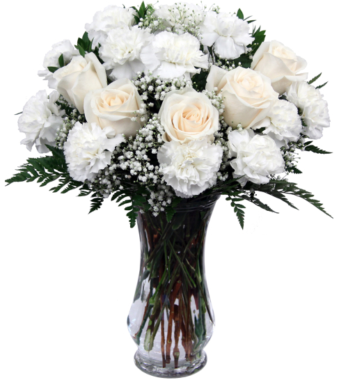 sympathy flower arrangements white roses white carnations