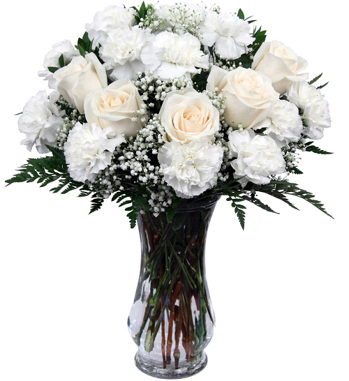 Sympathy Arrangements 183 White Roses Amp White Carnations