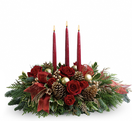 Teleflora's All is Bright Christmas Candle Centerpiece