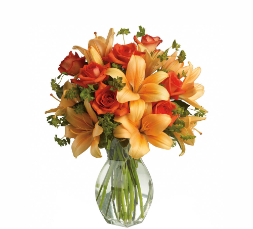 Teleflora's Fiery Lily and Rose Bouquet
